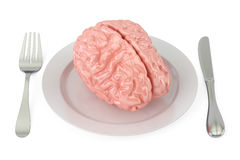 Plate with brain, 3D rendering. On white background Stock Image