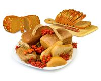 Plate with bread and berries Stock Photos
