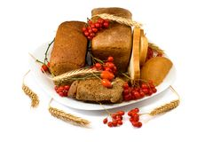 Plate with bread and berries Royalty Free Stock Photography