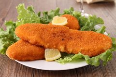 Plate of breaded fish Stock Photo