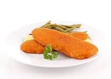 Plate of breaded fish and vegetable Stock Photo