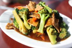 Plate of broccoli with vegan seitan Stock Photo