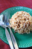 Plate of brown cooked rice Royalty Free Stock Photos