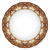 Plate with brown ornament Stock Photo