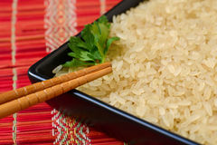Plate with brown uncooked rice and leaf of parsley Stock Photos