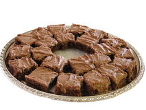 Plate of Brownies. Brownies on a silver platter Royalty Free Stock Images