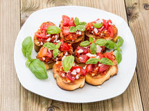 Plate with Bruschetta Royalty Free Stock Photos
