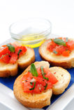 Plate of bruschetta starter Royalty Free Stock Photo