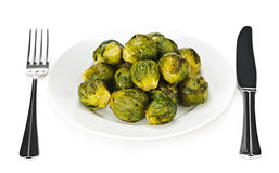 Plate of brussels sprouts Stock Image