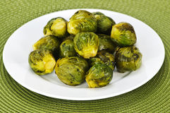 Plate of brussels sprouts Royalty Free Stock Images
