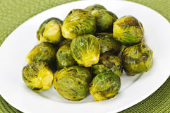 Plate of brussels sprouts Stock Photos
