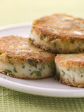 Plate of Bubble and Squeak cakes Royalty Free Stock Image