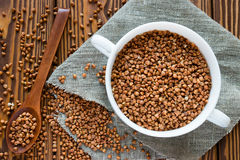 Plate of buckwheat on a napkin Stock Photography