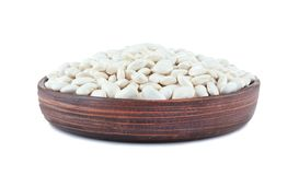Plate with butter beans. On white background Royalty Free Stock Photography