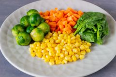 Plate with cabbage, carrots, corn and spinach. Healthy eating. Food fresh vegetarian vegan background organic raw vegetable salad colorful mix overhead royalty free stock image