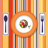 A plate with a cake on the bright background with  Royalty Free Stock Images
