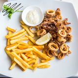 Plate of calamares and french fries with mayonnaise Stock Image