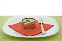 Plate with can Royalty Free Stock Photos
