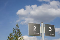 Plate for the car park, two and three Royalty Free Stock Image