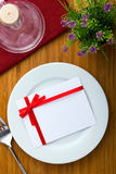 Plate with card Stock Photo