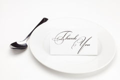 Plate with card signed thank you Stock Photos