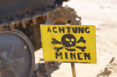 Plate-Careful of the mines. Royalty Free Stock Photos