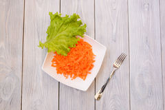 Plate with Carrot and Green Leaf. Top view. flat lay Stock Photography