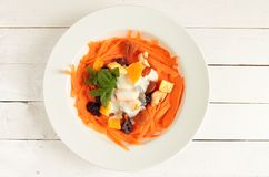 Plate with carrot salad Royalty Free Stock Photography