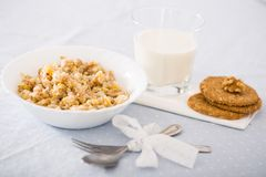 Plate with cereal porridge for breakfast Royalty Free Stock Images