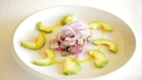 Plate ceviche with avocado made by professional chef. Plate Ceviche with Avocado panoramic stock video footage