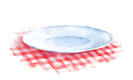 Plate on checkered tablecloth. Hand drawn watercolor illustration of plate on red checkered tablecloth Stock Photos