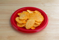 Plate of cheddar cheese flavored potato chips Royalty Free Stock Image