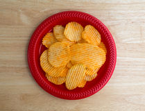 Plate of cheddar cheese flavored potato chips Royalty Free Stock Images