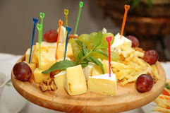 Plate of cheese. Some appetizing food at banquet table stock photography