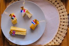 Cheese Plate with Markers and Flags royalty free stock image