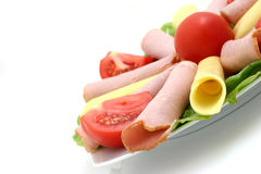 Plate of cheese, pork. And tomatos Stock Image
