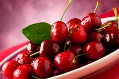 Plate with Cherries Stock Image