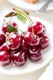 Plate of cherries berries close-up stock image