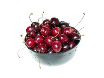Plate of cherry. A full plate of ripe sweet cherry Royalty Free Stock Images