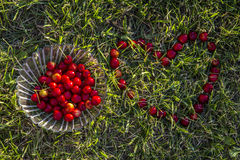 Plate with cherry and cherry heart Royalty Free Stock Image