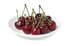 Plate with cherry Royalty Free Stock Photography