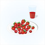Plate of cherry and strawberry with glass of juice, vine, plate of fruits on light background.  Royalty Free Stock Photo
