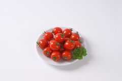 Plate of cherry tomatoes Stock Photography
