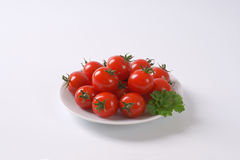 Plate of cherry tomatoes Stock Image
