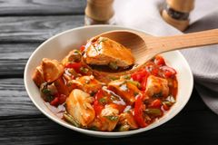 Plate with chicken cacciatore Stock Images
