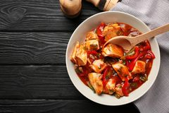 Plate with chicken cacciatore Stock Photography