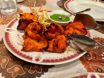 Chicken tikka Indian food spice. Plate of chicken stock photo