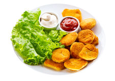 Plate of chicken nuggets Royalty Free Stock Photos