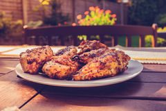 Plate of chicken outdoors at a barbecue Royalty Free Stock Photo
