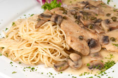 Plate of chicken picatta Royalty Free Stock Images